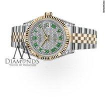 Rolex Datejust Ouro/Aço 36mm Verde