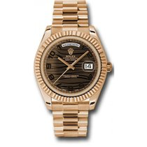 Rolex Day-Date II 218235 18K Rose Gold 41MM Bronze Wave Dial,...