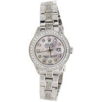 Rolex Ladies Stainless Steel Rolex DateJust Diamond White MOP...