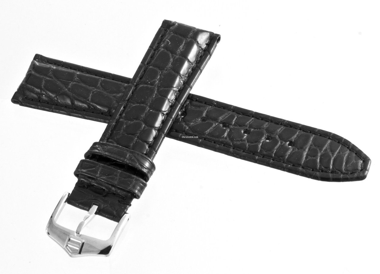 f2a6600cffa5 TAG Heuer 18mm x 16.5mm Black Leather with Silver Buckle Watch Band Strap