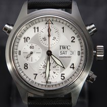 IWC Pilot Double Chronograph Steel 42mm Silver Arabic numerals