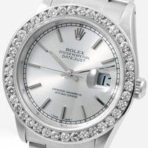 Rolex SS Datejust Silver Dial Custom  2.5 ct. Diamond Bezel 16030