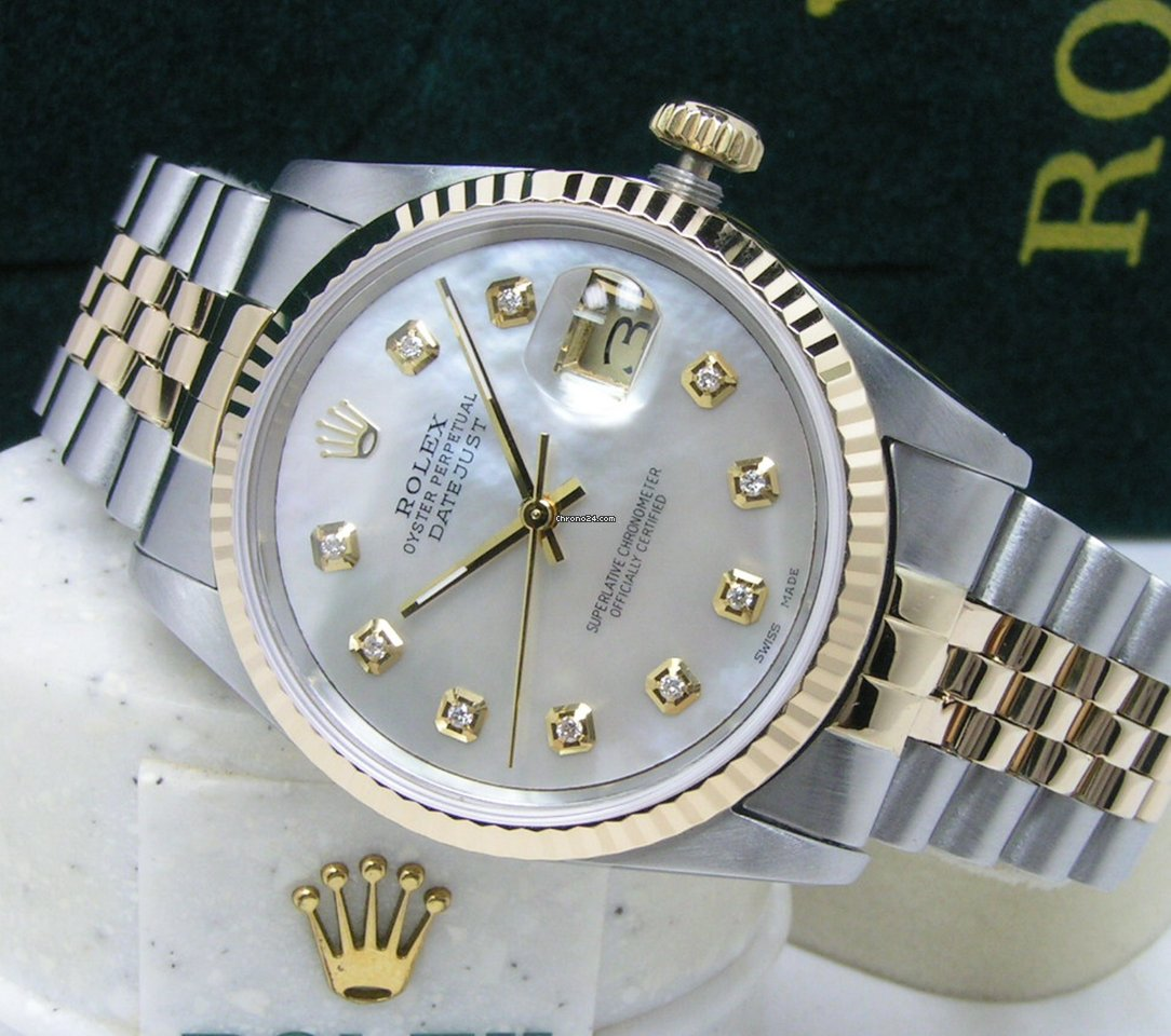 Rolex Men\u0027s Datejust 36 White MOP Diamond Dial Boxes Books