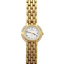 Maurice Lacroix nuevo Cuarzo Con piedras preciosas y diamantes 24mm Oro amarillo Cristal de zafiro