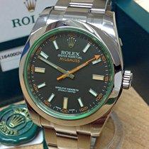 Rolex Milgauss Сталь 40mm Чёрный Без цифр