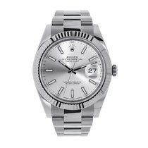 Rolex Datejust 41mm Steel & White Gold Silver Dial Watch 126334