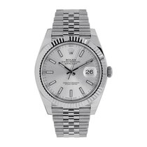 Rolex Steel Automatic Silver No numerals 41mm new Datejust