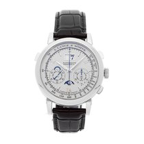 A. Lange & Söhne Datograph pre-owned 41mm Silver Chronograph Date Month Perpetual calendar Crocodile skin