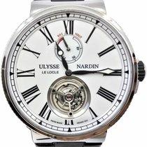 Ulysse Nardin Marine Tourbillon подержанные 43mm Белый Турбийон Кожа аллигатора
