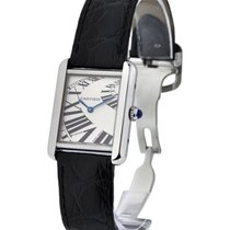 Cartier W5200018 Tank Solo Small in Steel - Steel on Strap...