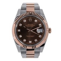 Rolex DATEJUST 41 Steel & 18K Rose Gold Watch Diamond Dial