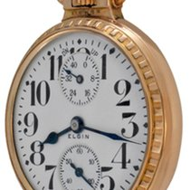 Elgin Watch pre-owned Yellow gold Arabic numerals Manual winding Watch only