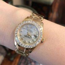 Rolex Lady-Datejust Pearlmaster Жёлтое золото 29mm Перламутровый Без цифр
