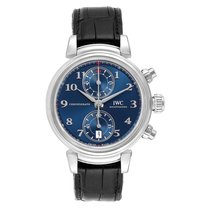 IWC Da Vinci Chronograph pre-owned 42mm Blue Chronograph Date Leather