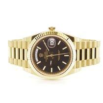 Rolex Day Date 40 Yellow Gold President Black Diagonal Motif Dial