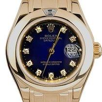 Rolex Lady-Datejust Pearlmaster Žluté zlato 29mm Modrá