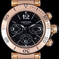 Cartier Pasha Seatimer pre-owned 42mm Black Chronograph Date Rose gold