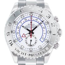 Rolex Yacht-Master II Or blanc 44mm Blanc Sans chiffres
