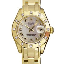 Rolex Mother of pearl Roman numerals 29mm pre-owned Lady-Datejust Pearlmaster