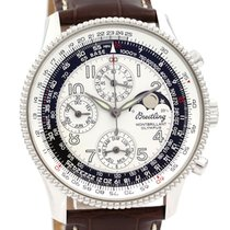 Breitling Montbrillant Olympus pre-owned 42mm Silver Moon phase Chronograph Date Weekday Month Crocodile skin