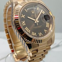 Rolex Day-Date II Red gold 41mm Brown Roman numerals
