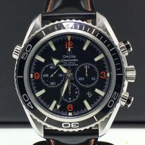 Omega Seamaster Planet Ocean Chronograph pre-owned 40mm Black Chronograph Date Leather