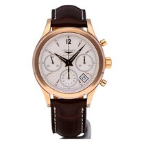 Longines Column-Wheel Chronograph Rose gold 39mm Silver