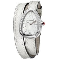 Bulgari Serpenti 27 Gemstone White Leather Strap