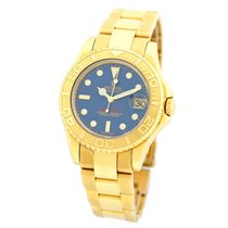 Rolex Gent's 18K Yellow Gold 35mm Yachtmaster Blue 168628 Box...