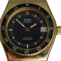 Omega Yellow gold Black No numerals 41mm pre-owned Seamaster Diver 300 M