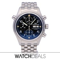 IWC Pilot Double Chronograph pre-owned 42mm Black Chronograph Double chronograph Date Weekday Steel