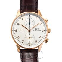 IWC Portugieser Chronograph Silver 18k red gold/Brown Leather 40