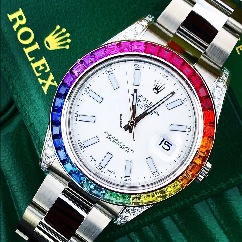 Breitling Watches For Sale >> Rolex Datejust 2 Custom Rainbow Bezel & Diamond Shoulders ...