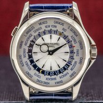 Patek Philippe World Time White gold 39mm Silver United States of America, Massachusetts, Boston