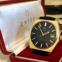 Omega Black dial face Geneve Mens vintagw automatic gold watch...