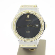 Hublot Classic Steel/Gold 36mm BlackDial (AFTERSETDIAMONDS) 2000