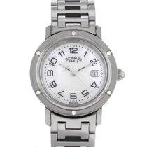 Hermès Clipper Stahl 31mm Perlmutt Arabisch