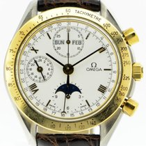 Omega Speedmaster Professional Moonwatch Moonphase gebraucht 39mm Weiß Chronograph Datum Wochentagsanzeige Monatsanzeige Leder