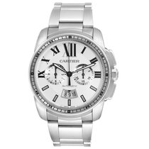 Cartier Calibre de Cartier Chronograph Steel 42mm Silver Roman numerals