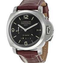 Panerai Luminor 1950 10 Days GMT pre-owned 44mm Black Date GMT Leather
