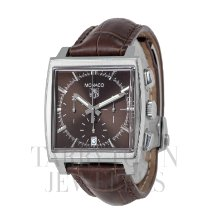 TAG Heuer Monaco pre-owned 38mm Brown Chronograph Date Double-fold clasp