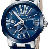 Ulysse Nardin Ceramic Manual winding Blue Roman numerals 43mm new Executive Dual Time