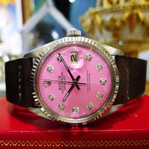 Rolex Oyster Perpetual Datejust Steel Pink Diamond Dial Watch...