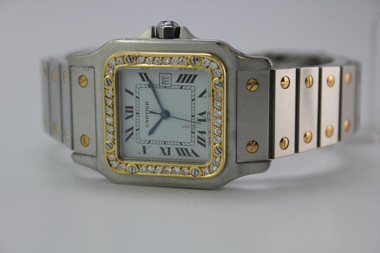 b08a1efca222 Cartier Santos Galbeé Acier Diamond Automatik  1095 Box