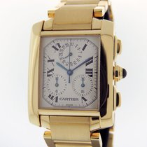 Cartier Tank Française pre-owned 28mm Silver Chronograph Date Yellow gold