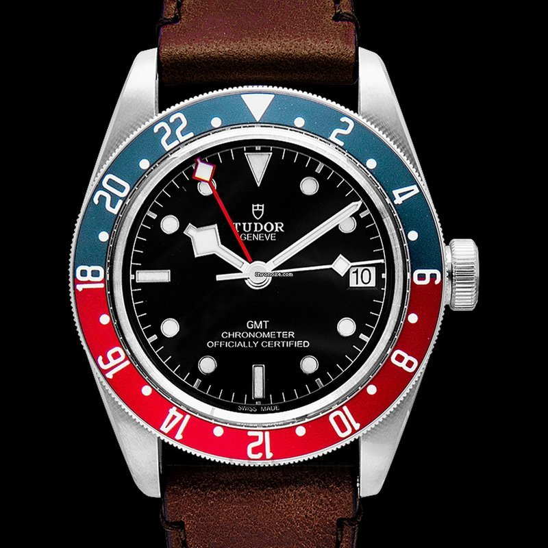 Tudor Black Bay Automatic Black Dial Men S Gmt Brown Leather Watch