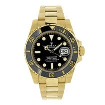 Rolex SUBMARINER 18K Yellow Gold Black Ceramic Watch 116618