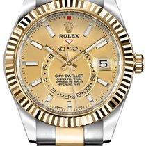 Rolex Sky-Dweller Or/Acier 42mm Champagne Sans chiffres
