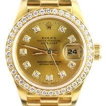 Rolex Lady-Datejust Zuto zlato 26mm Boja šampanjca Bez brojeva