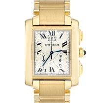 Cartier 18k Yellow Gold Tank Francaise Chronograph Chronoflex